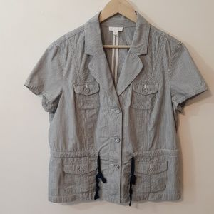 Charter Club Striped Short Sleeve Jacket Size XL
